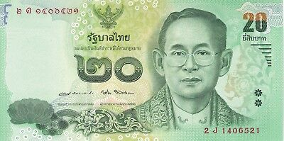 Thailand Banknote 20 Baht Mint Circulating Currency