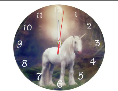 Gothic Wall Clocks by Cindy Grundsten FOREST REFLECTION UNICORN New Age 25 cm