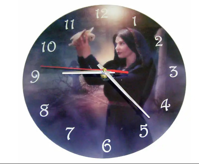 Gothic Wall Clocks by Cindy Grundsten MESSAGE BEARER dove wiccan New Age 25 cm
