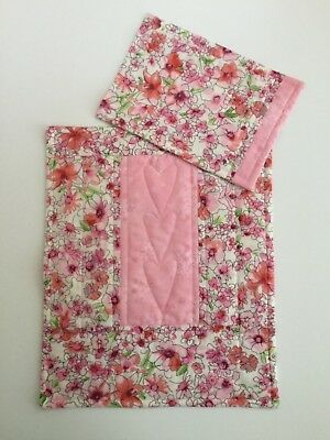 Doll's Quilt & Pillow set Pink floral Pram Cot Handmade Blanket Quilted Girl