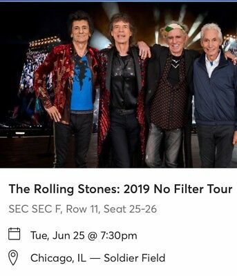 The Rolling Stones: No Filter Tour - 2 Tickets, Chicago, Soldier Field 6/25/2019