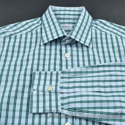 ed28250e74 KITON Blue Green Plaid Check 100% Cotton Mens Luxury Dress Shirt - 16.5