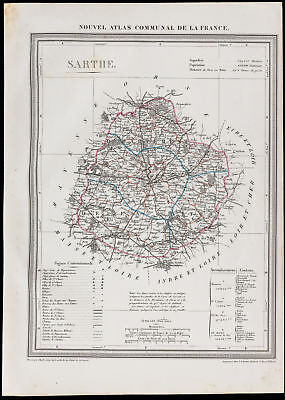 1839 - Map geographical old of the Sarthe. Department France Engraving