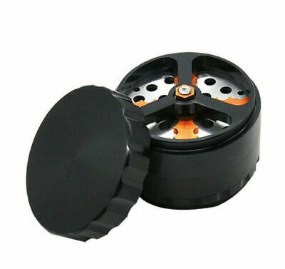 1 X 68MM 4 Piece Aluminum Herb Grinder Tobacco Crusher with Cutting Blade-Black