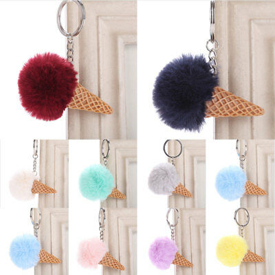 Cute Artifical Ice Cream Pompom Fur Ball Keychain Women Handbag Pendant Fashion
