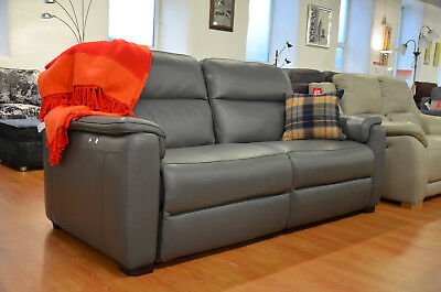 Magnificent Italian Grey Leather Recliner Sofa Strauss 3 Seater Made In Cjindustries Chair Design For Home Cjindustriesco