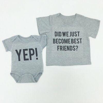 Baby Short Sleeve T-shirt BEST FRIENDS Printed Tops Pullover Infant Clothes  HS