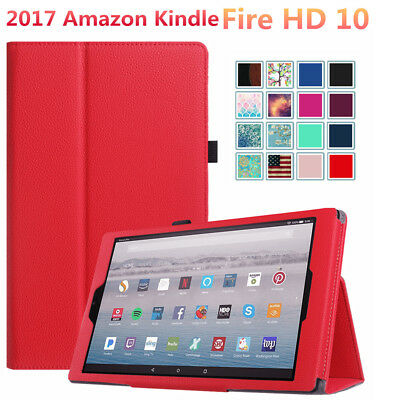 10.1'' For Amazon Fire HD 10 2017 - Leather Case Smart Stand Cover Protection