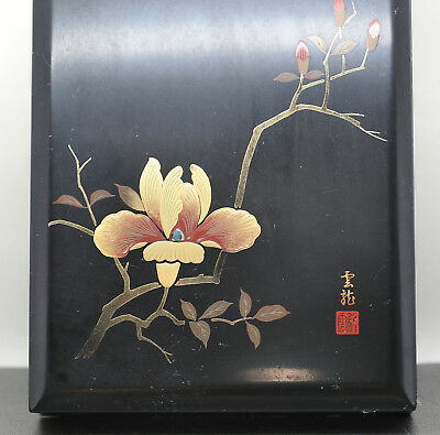 Vintage Elegant Japanese Hand Painted Black Lacquer Document  Box Signed
