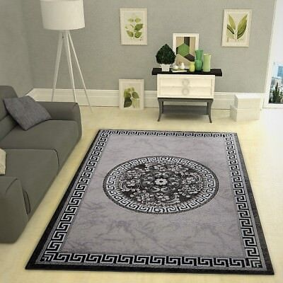Oriental Rug New Modern Grey Black Glitter Floral Pattern Carpet Living Room Mat