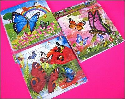 Bulk Lot x 12 Girls Butterfly Jigsaw Puzzles Kids Party Favor Novelty Toy New