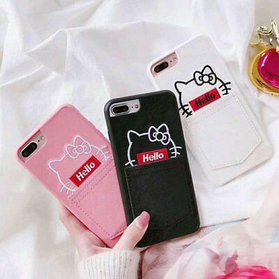 Hello Kitty Leather Skin Card Slot Case Cover for iPhone 6 7 8 X XS Plus C0080