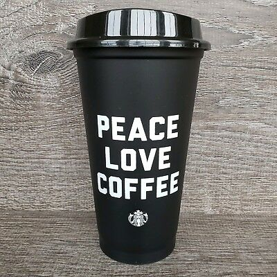 "Starbucks Reusable Cup Black ""PEACE LOVE COFFEE"" 16 Oz  With Lid & Classic Siren"