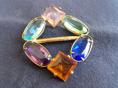 ART DECO BUCKLE - 6 GLASS STONES, Amber sapphire amethyst aquamarine green pink