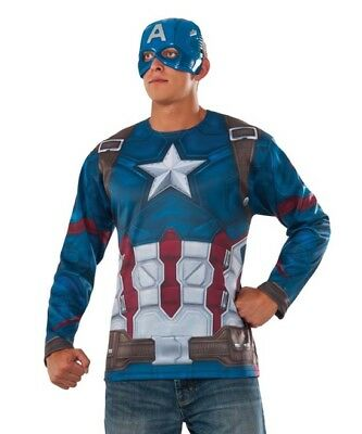 Marvel Rubie's Civil War Captain America Costume Top and Mask Set NEW Men XLarge
