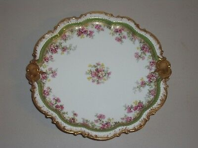 """Limoges France Coronet 9"""" Cabinet Beaded Plate Heavy Gold Gilt Green Pink"""