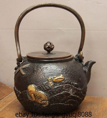 Archaic Japanese Old Iron Silver Gilt Dragonfly Frog Flagon Kettle Wine Tea Pot