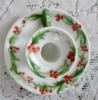 Pouyat Limoges Holly  Design Hand Painted Chamber Stick Candle Holder Antique