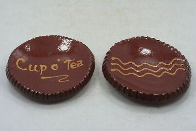 Lot of 2 Redware Pottery '07 Tea Bag Holder Plates Signed SHH 3 1/4""
