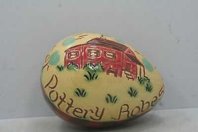 "2010 45 Year Anniversary Lester Breininger Pottery Egg - Robesonia PA - 3"" Long"
