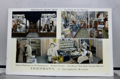 New Jersey NJ Newark Friedman Music Shop Postcard Old Vintage Card View Standard