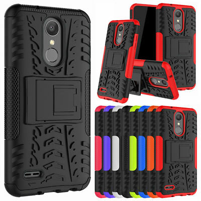 For LG Phoenix 4 (At&T) Case Tough ShockProof Dual Layer Armor Kickstand Cover