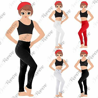 New Kids Girls Plain Cotton Stretchy Full Length Leggings Party Pants All Ages