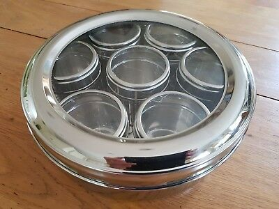 21cm Masala Dabba Spice Tin With Individual Pot Lids & See Through Top S.Steel