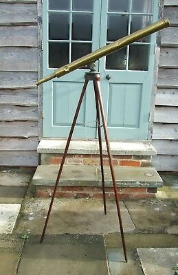 Antique Telescope With Stand & Table Top Stand Brooks London 1850 1870 Nautical