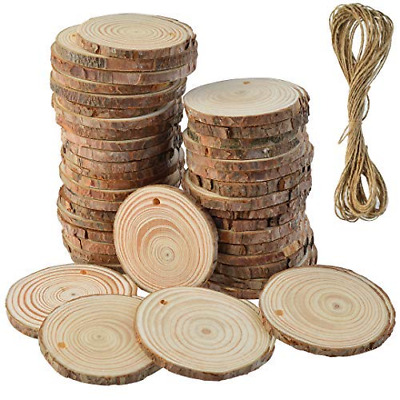50 Pcs Natural Wood Slices Unfinished Predrilled Round Discs Hole Wooden Circles