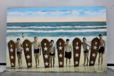 Scenic Beach Fun Riding Waves Here Postcard Old Vintage Card View Standard Post