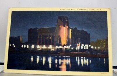 New Jersey NJ Asbury Park Mayfair Theater Night Postcard Old Vintage Card View