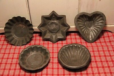 Vintage Primitive Metal Tin Molds! Star * Rounds * Heart & Shell
