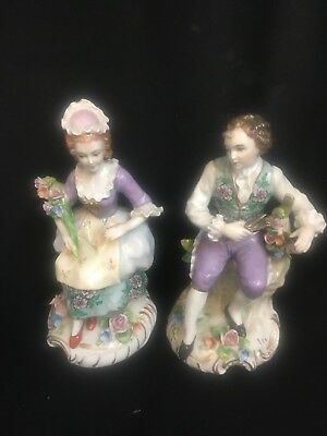 BEAUTIFUL ANTIQUE Couple Courting SITZENDORF PORCELAIN FIGURINES GERMANY