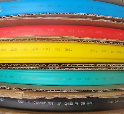 "5' LENGTH HEAT SHRINK TUBING 3/8"" 10mm 5 COLORS 1 FOOT EACH"