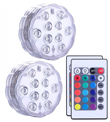 Submersible Led Lights Remote Controlled, Battery Powered, RGB Changing NEW US