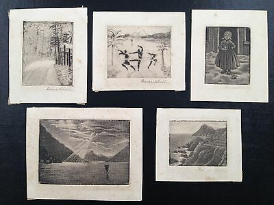 "5 Lot Pencil Signed Etchings Horace Sheble 1889  ""Forgotten Giant"" Thom. Edison"