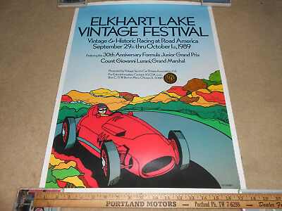 1989 ELKHART LAKE VINTAGE RACING FESTIVAL 18 x 24 PROMO POSTER by KINKAID
