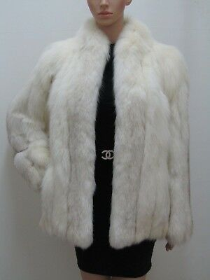 Real Fox Fur Winter-White Arctic Jacket Coat Vintage 4-6-8-10Uk/s Volpe