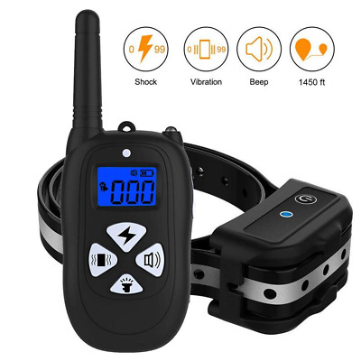 Dog Training Collar with Remote Reflective Strap 1450ft Shock Beep NEW US