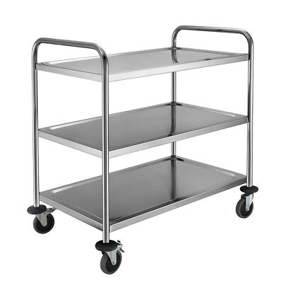 3 Tier Clearing Trolley with Wheels Large Kitchen Food Serving Shelf Restaurant