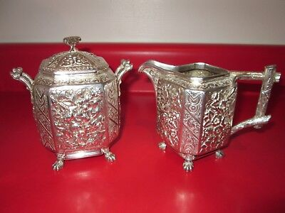 Great AESTHETIC Period - Very Ornate - STERLING - Large CREAM & SUGAR 23 toz