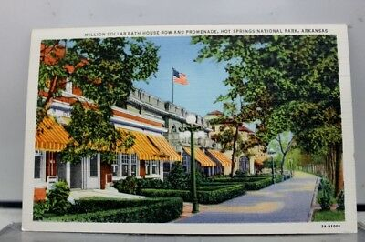 Arkansas AR Hot Springs National Park Bath House Row Promenade Postcard Old View