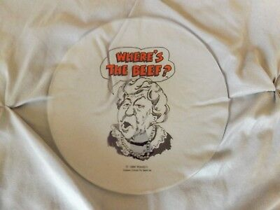 """Vintage """"Where's The Beef"""" Wendy's Glass Plate 1984"""