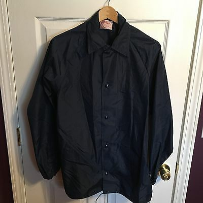 Vintage Oliver Bros Navy Blue Athletic Spring Unlined Coat Jacket Size S Small