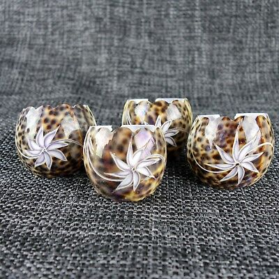 4 X Shell Napkin Rings - Carved - Cypraea Tigris - Spotted Cowrie Shells