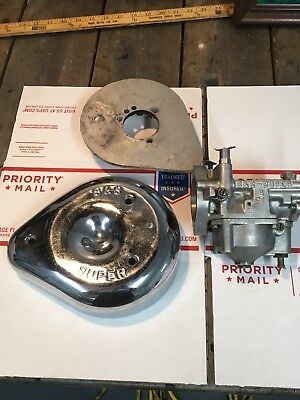 S&S Cycle Super B Carburetor Backing Plate 17-0078 Cover & Chrome Air Cover MINT
