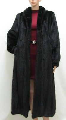 Real Mink Female Fur Jet Black Saga Full Length Coat 8-10-12-14 Uk Visone