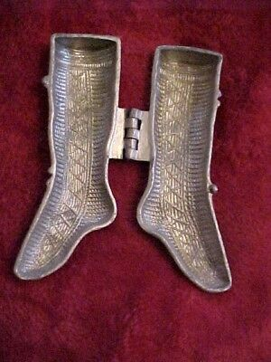 """Antique Pewter Shall S & Co 6"""" Christmas Stocking Ice Cream Chocolate Mold"""