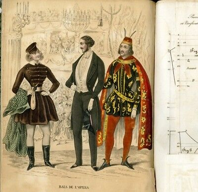 1843 SEWING PATTERNS  - A COMPLETE YEAR with many complete costumes men & ladies